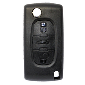 Peugeot compatible 3 button HU83 remote flip Key housing without Battery Clip
