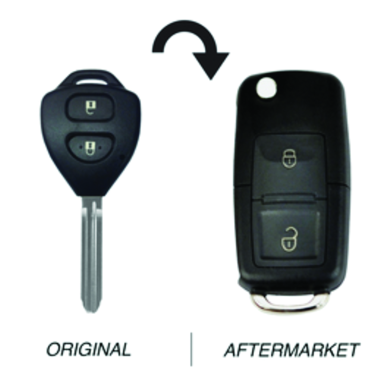 Toyota compatible 2 button TOY43 remote Key 67 Chip 434MHz, (71051)
