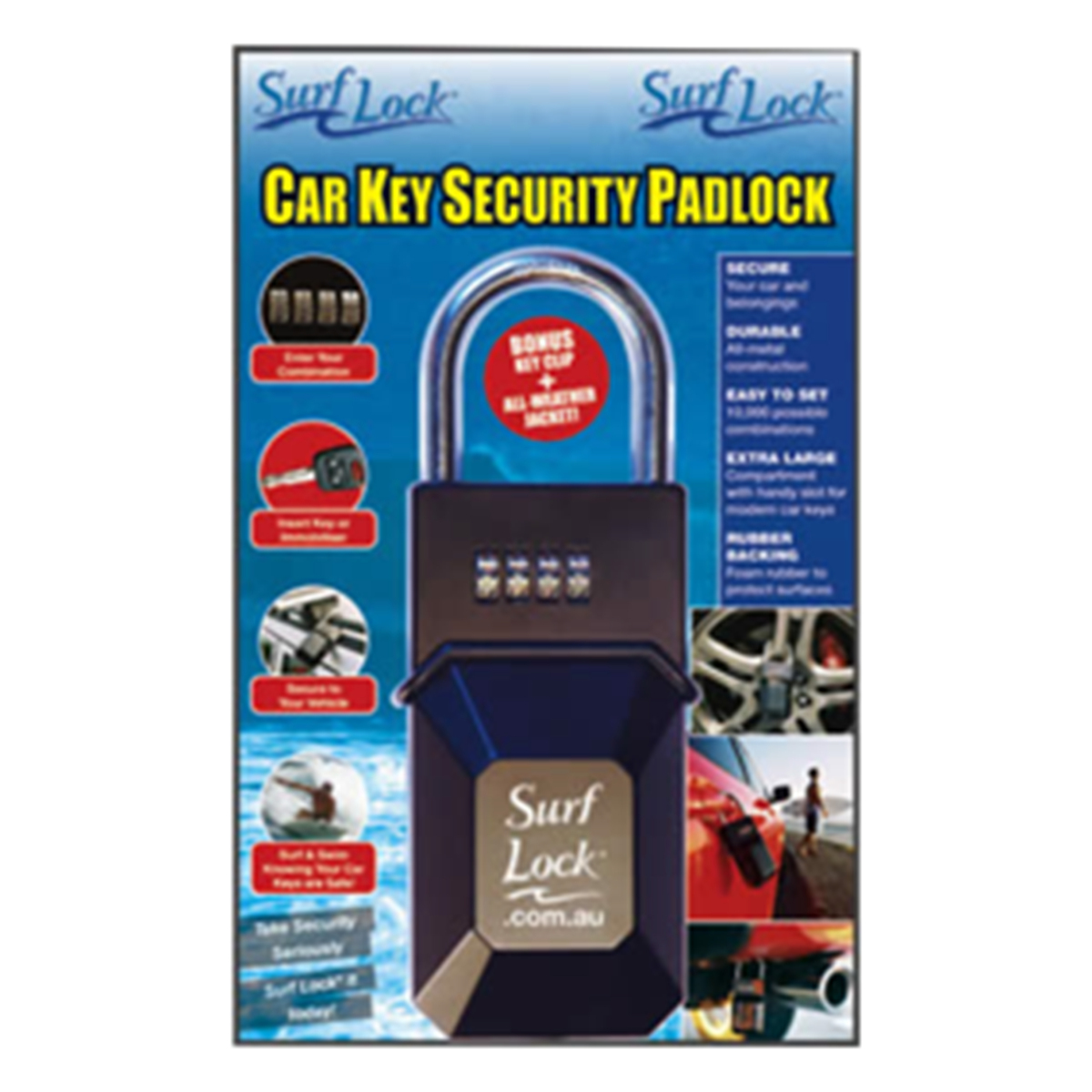Surf Lock - Car Key Security Padlock